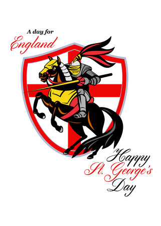 georges: Poster greeting card Illustration of knight in full armor riding a horse armed with lance with England English flag in background done in retro style with words A Day For England Happy St. Georges Day.