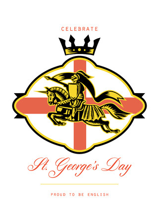 brandishing: Poster greeting card Illustration of knight in full armor riding a horse armed with lance with England English flag in background done in retro style with words Celebrate St. Georges Day Proud to Be English.