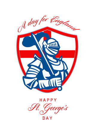 Poster greeting card Illustration of knight in full armor with sword and shield with England English flag done in retro style with words Happy St. Georges Day A Day for England.