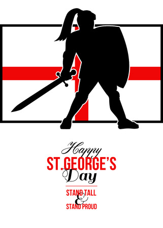 Poster greeting card Illustration of knight in full armor with sword and shield with England English flag done in retro style with words Happy St. Georges Stand Tall and Proud. Stock Photo