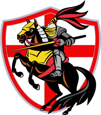 Illustration of an English knight in full armor riding a horse armed with lance and England flag in background done in retro style. Stock Photo