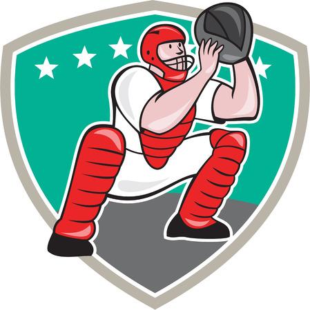 catcher baseball: Illustration d'un receveur de baseball attraper accroupi devant faire face fix� � l'int�rieur en forme de bouclier style de bande dessin�e fait isol� sur fond blanc.