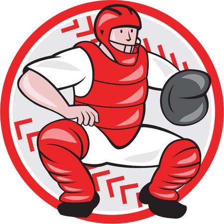 catcher baseball: Illustration d'un receveur de baseball attraper accroupie face style de bande dessin�e avant fait isol� sur fond blanc.