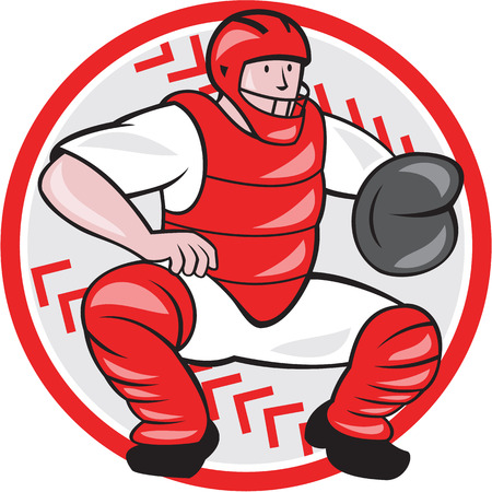 squat: Illustration of a baseball catcher catching squatting facing front done cartoon style isolated on white background.