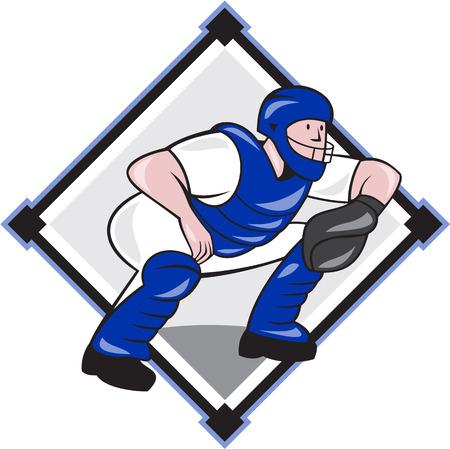 catcher baseball: Illustration d'un receveur de baseball attraper accroupi c�t� de parement plac� la forme int�rieure de diamant style de bande dessin�e fait isol� sur fond blanc. Illustration