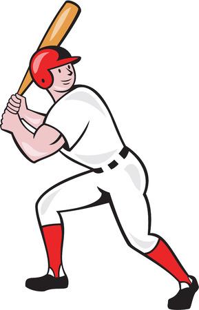 bateo: Ilustraci�n de un jugador de b�isbol bateador bateo con el bate bateador americano hecho en estilo de dibujos animados aislado en el fondo blanco.
