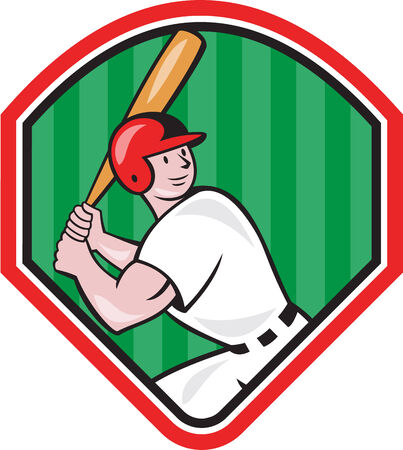baseball diamond: Illustration of an american baseball player batter hitter batting with bat inside diamond shape done in cartoon style isolated on white background. Illustration