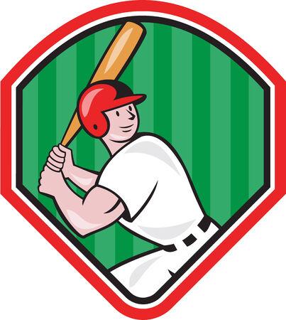 bateo: Ilustraci�n de un jugador de b�isbol bateador bateo bateador americano con el bate en el interior en forma de diamante hecho en estilo de dibujos animados aislado en el fondo blanco.