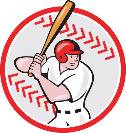 bateo: Ilustraci�n de un jugador de b�isbol bateador bateo bateador americano con la cara del palo frente conjunto dentro de forma de la bola hecho en estilo de dibujos animados aislado en el fondo blanco.