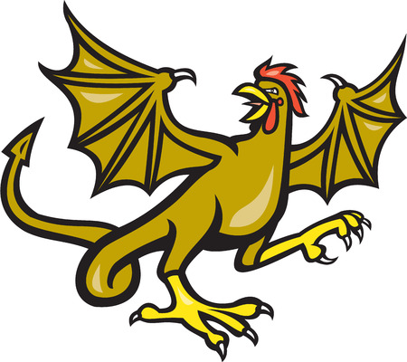 crowing: Illustration of a basilisk , an animal with the head, torso and legs of a rooster, the tongue of a snake, the wings of a bat and with a snake-like rump that ends in an arrowpoint crowing done in cartoon style on isolated background. Illustration