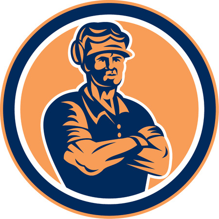 muff: Illustration of a builder construction worker wearing hardhat with arms crossed facing front set inside circle done in retro style on isolated background.