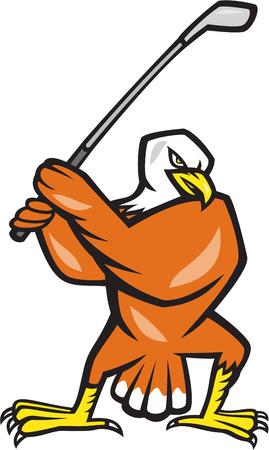 복고 스타일을 이루어 격리 된 배경에 칠 미국의 대머리 독수리 플레이 골프의 그림입니다. 일러스트