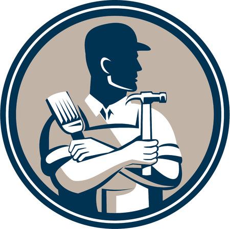 Ilustración de un carpintero celebración el martillo y el pincel, mirando al lado establece dentro del círculo en el fondo aislado hecho en estilo retro. Vectores