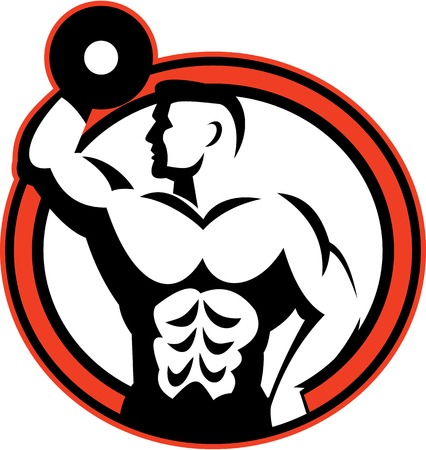 Illustration of a bodybuilder lifting dumbbell flexing muscles viewed from side set inside circle  done in retro style. Illustration