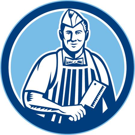 viande couteau: R�tro illustration de style d'un travailleur de coupe de boucher avec un couteau de couteau de boucher face c�t� mis l'int�rieur du cercle sur fond isol�.