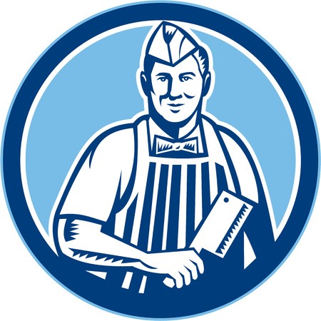 Retro style illustration of a butcher cutter worker with meat cleaver knife facing side set inside circle on isolated background. Vector