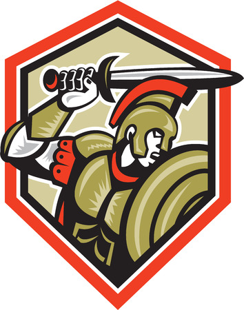 roman soldier: Illustration of centurion roman soldier gladiator attacking with a sword and shield viewed from side set inside crest done in retro style on isolated background.