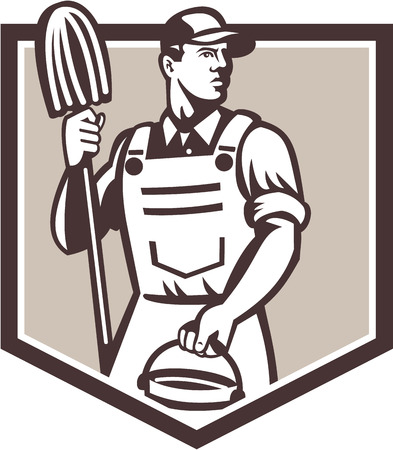 janitor: Illustration of a janitor cleaner worker holding mop and water bucket pail viewed from low angle set inside shield done in retro style.