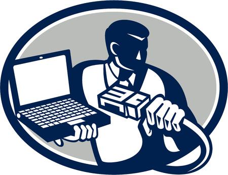 cable de red: Ilustraci�n de t�cnico en computaci�n reparador friki cable de red de retenci�n y el ordenador port�til port�til hecho en estilo retro. Vectores