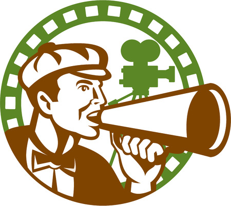 bullhorn: Illustration of a movie director cameraman shouting using bullhorn with vintage camera set inside circle done in retro style. Illustration