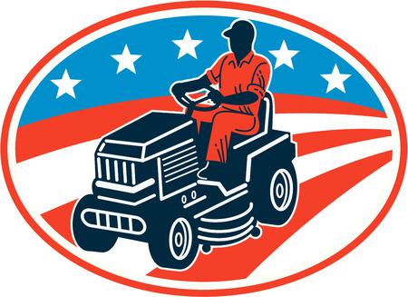lawn: Illustratie van de Amerikaanse mannelijke tuinman maait het rijden op ride-on grasmaaier met sterren en strepen vlag set binnen ovaal gedaan in retro houtsnede stijl.