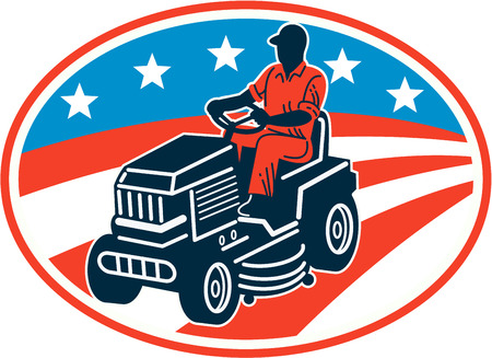 Illustration of American male gardener mowing riding on ride-on lawn mower with stars and stripes flag set inside oval done in retro woodcut style. Vector