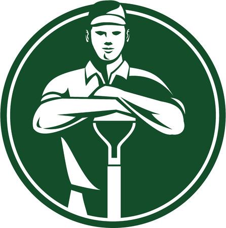 paysagiste: Illustration de mâle jardinier paysagiste horticulteur avec une pelle bêche front face à fait dans le style rétro mis l'intérieur du cercle.