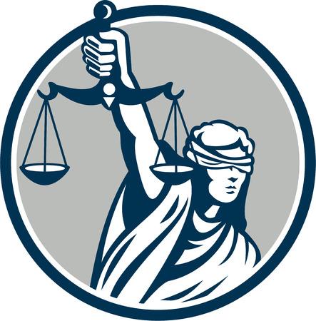 Illustratie van geblinddoekte dame naar voren gericht houden en verhogen van weegschalen van justitie ingesteld binnen cirkel op een witte achtergrond.