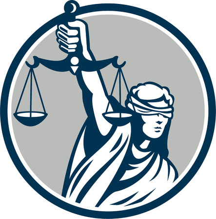 justice scales: Illustration of blindfolded lady facing front holding and raising up weighing scales of justice set inside circle on isolated white background.