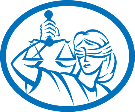Illustration of blindfolded lady facing front holding and raising up weighing scales of justice set inside oval on isolated white background.