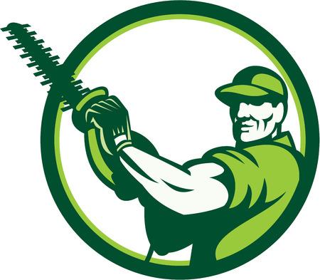 Illustratie van een boomverzorger boomverzorger tuinman handelaar werknemer met een heggenschaar naar de voorkant set binnen cirkel gedaan in retro stijl op geïsoleerde witte achtergrond. Stock Illustratie