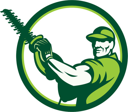 Illustration of a tree surgeon arborist gardener tradesman worker holding a hedge trimmer facing front set inside circle done in retro style on isolated white background.