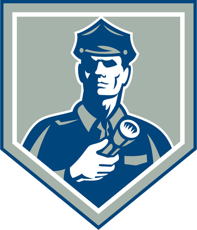 レトロなスタイルで行われる分離の背景に盾の紋章の中懐中電灯トーチ セットを持つ警官警備警察将校のイラスト。