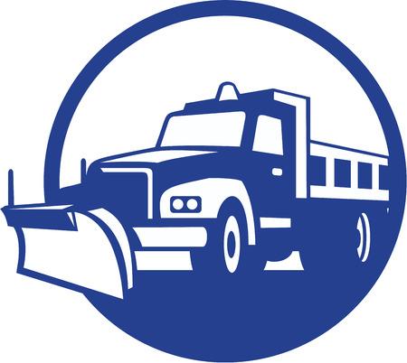 ploegen: Illustratie van een sneeuwploeg truck ingesteld binnen cirkel op achtergrond gedaan in retro stijl.