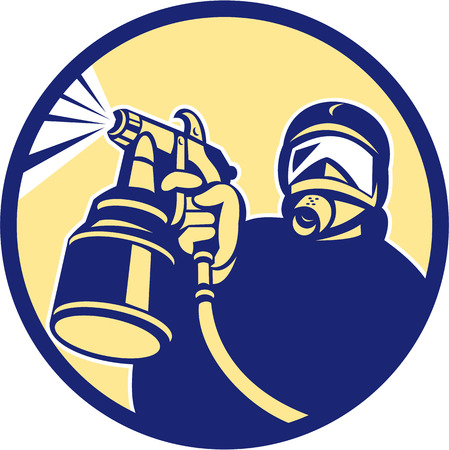 Illustration of car painter holding paint spray gun spraying set inside circle done in retro style.