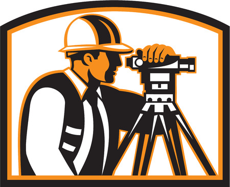 geodetic: Illustration of a surveyor geodetic engineer with theodolite instrument surveying viewed from side done in retro style.