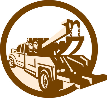 Illustration of a tow wrecker truck lorry viewed from rear set inside circle done in retro style on isolated background. 일러스트