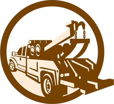 Illustratie van een sleep wrecker truck vrachtwagen van achteren gezien set binnen cirkel gedaan in retro stijl op geïsoleerde achtergrond.