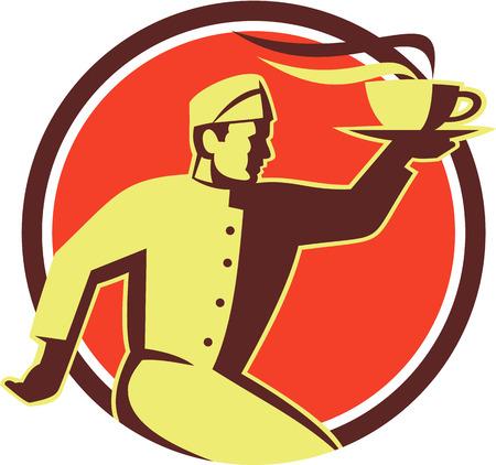 Ilustración de estilo retro de una porción del camarero llevando una taza de café caliente en una mano corriendo visto desde el lado fijó el círculo interior hecho en estilo retro. Foto de archivo - 26131803