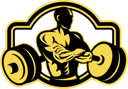 weightlifter: Illustration of a weightlifter with arms crossed and barbell in background viewed from front done in retro style.