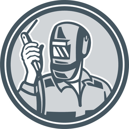 weld: Illustration of welder worker working holding up welding torch viewed from front set inside circle on isolated background done in retro style.