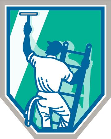 Illustrazione di un lavavetri pulisce una finestra con spatola visto dal punto di vista posteriore set all'interno scudo isolato su sfondo fatto in stile retrò. Vettoriali