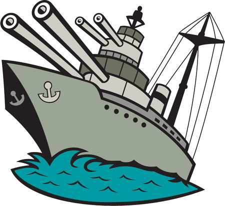 navy ship: Illustration of a world war two naval battleship boat with big guns at sea done in cartoon style on isolated background.