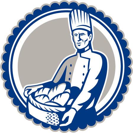 canasta de pan: Ilustración de un chef pastelero cocinero sosteniendo cesta llena de pan frente frente conjunto dentro del círculo hecho en estilo retro.