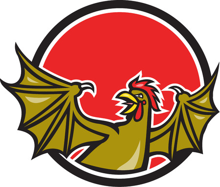 crowing: Illustration of a basilisk , an animal with the head, torso and legs of a rooster, and the wings of a bat and crowing set inside circle done in cartoon style on isolated background.