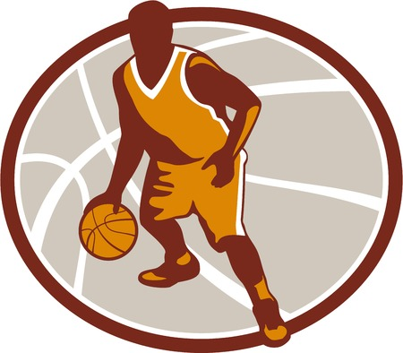 dribbling: Illustration of a basketball player dribbling ball facing front set inside oval on isolated white background.