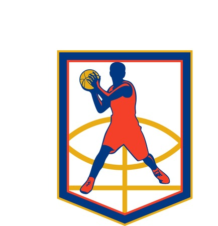 baller: Illustration of a basketball player passing ball facing front set inside shield crest shape on isolated white background done in retro style.