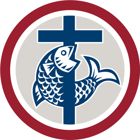 pez cristiano: Ilustración de un pez en una cruz que representa una religión icono símbolo cristiano dentro de círculo sobre fondo aislado.