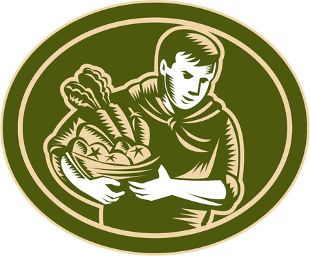 horticulturist: Illustration of male organic farmer gardener horticulturist  with basket full of crop harvest, fruits and vegetables set inside oval done in retro woodcut style.