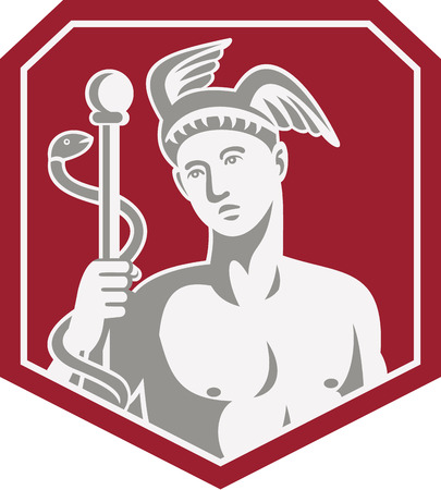mercury staff: Illustration of Roman god Mercury wearing winged hat holding caduceus a heralds staff with two entwined snakes looking to side set inside shield on isolated done in retro style.